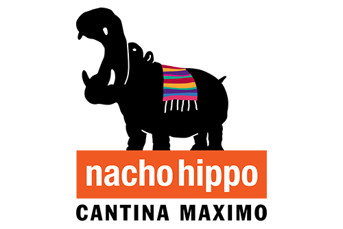 Nacho Hippo Logo with link to Website and  and image of plate of assorted taco specialty dishes