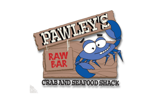 Pawleys raw Bar Logo with link to Website and  and image of plates of crab legs, bangin shrimp tacos
