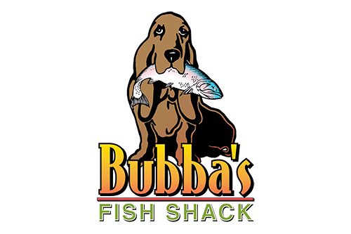 Bubbas Fish Shack Logo with link to Website and  and seafood platter