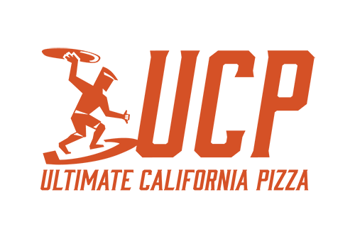 Ultimate California Pizza Logo with link to Website and  and image of pizza sandwich and salad